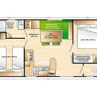 le plan du mobil home mercure - Camping Les Parcs