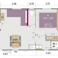 plan du mobil home lodge - Camping Les Parcs