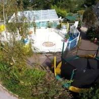 vue aérienne pataugeoire - Camping Les Parcs