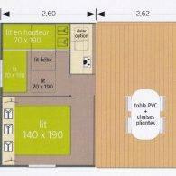 le plan du mobil home - Camping Les Parcs