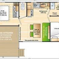 disposition des pièces dans le mobilhome confort - Camping Les Parcs