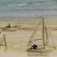 trompe l'œil sur la plage à marée descendante a penestin - Camping Les Parcs