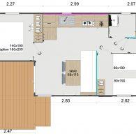 le plan d'aménagement du mobil-home Lodge 80 - Camping Les Parcs